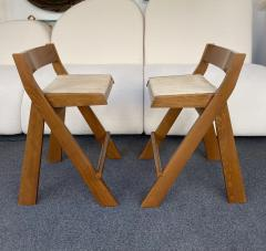 Le Corbusier Jeanneret Perriand Pair of Compas Wood Counter Stools Italy - 2133197