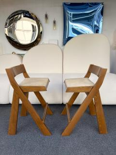 Le Corbusier Jeanneret Perriand Pair of Compas Wood Counter Stools Italy - 2133198