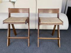 Le Corbusier Jeanneret Perriand Pair of Compas Wood Counter Stools Italy - 2133199