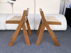 Le Corbusier Jeanneret Perriand Pair of Compas Wood Counter Stools Italy - 2133202