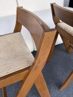 Le Corbusier Jeanneret Perriand Pair of Compas Wood Counter Stools Italy - 2133203