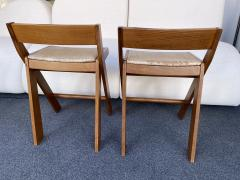 Le Corbusier Jeanneret Perriand Pair of Compas Wood Counter Stools Italy - 2133204