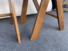 Le Corbusier Jeanneret Perriand Pair of Compas Wood Counter Stools Italy - 2133207