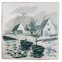 Le Glaive Set of 6 of Total 120 Dutch Dark Green Glazed Ceramic Tiles by Le Glaive 1930 - 1298248
