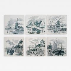 Le Glaive Set of 6 of Total 120 Dutch Dark Green Glazed Ceramic Tiles by Le Glaive 1930 - 1307462