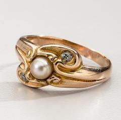 Lebolt Co LeBolt Gold Diamond Pearl Ring - 291896