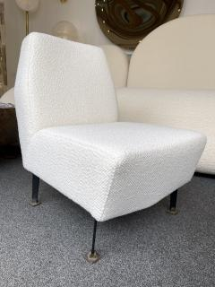 Lenzi Pair of Slipper Chairs Boucl Fabric by Studio APA for Lenzi Italy 1960s - 2128292