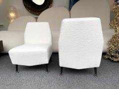 Lenzi Pair of Slipper Chairs Boucl Fabric by Studio APA for Lenzi Italy 1960s - 2128294