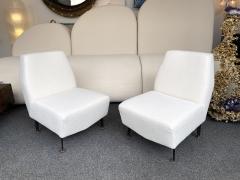 Lenzi Pair of Slipper Chairs Boucl Fabric by Studio APA for Lenzi Italy 1960s - 2128295