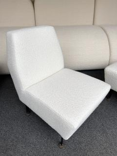Lenzi Pair of Slipper Chairs Boucl Fabric by Studio APA for Lenzi Italy 1960s - 2128297