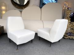 Lenzi Pair of Slipper Chairs Boucl Fabric by Studio APA for Lenzi Italy 1960s - 2128299