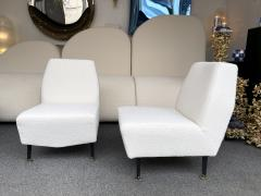 Lenzi Pair of Slipper Chairs Boucl Fabric by Studio APA for Lenzi Italy 1960s - 2128300