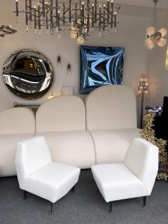 Lenzi Pair of Slipper Chairs Boucl Fabric by Studio APA for Lenzi Italy 1960s - 2128302