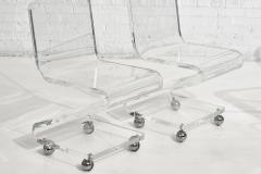 Les Prismatiques Lucite Chairs on Casters circa 1970 - 1907638