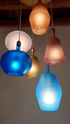 Leucos Large colorful Murano glass Mid Century Modern chandelier Leucos style 1980s - 1573039