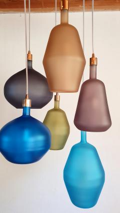 Leucos Large colorful Murano glass Mid Century Modern chandelier Leucos style 1980s - 1573045
