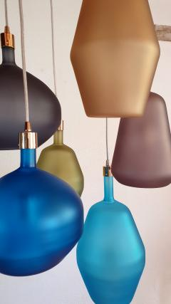 Leucos Large colorful Murano glass Mid Century Modern chandelier Leucos style 1980s - 1573049