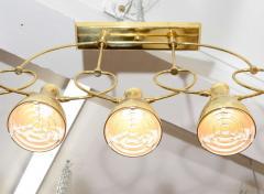 Lightolier MODERNIST MID CENTURY FIVE LIGHT BRASS CHANDELIER BY LIGHTOLIER - 751844