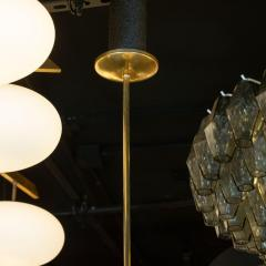 Lightolier Midcentury Ebonized Walnut Brass and Opaline Glass Chandelier by Lightolier - 1459834