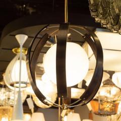 Lightolier Midcentury Ebonized Walnut Brass and Opaline Glass Chandelier by Lightolier - 1459835