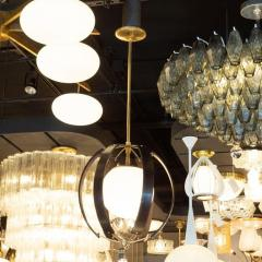Lightolier Midcentury Ebonized Walnut Brass and Opaline Glass Chandelier by Lightolier - 1459836