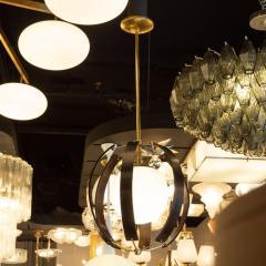 Lightolier Midcentury Ebonized Walnut Brass and Opaline Glass Chandelier by Lightolier - 1459837