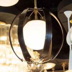 Lightolier Midcentury Ebonized Walnut Brass and Opaline Glass Chandelier by Lightolier - 1459838