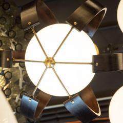Lightolier Midcentury Ebonized Walnut Brass and Opaline Glass Chandelier by Lightolier - 1459842