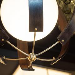 Lightolier Midcentury Ebonized Walnut Brass and Opaline Glass Chandelier by Lightolier - 1459843