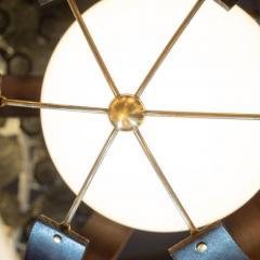 Lightolier Midcentury Ebonized Walnut Brass and Opaline Glass Chandelier by Lightolier - 1459846