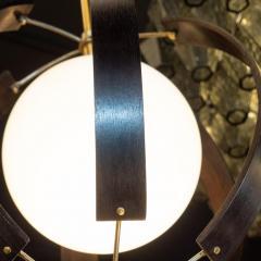 Lightolier Midcentury Ebonized Walnut Brass and Opaline Glass Chandelier by Lightolier - 1459847