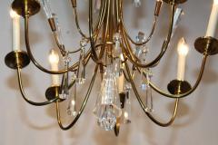 Lightolier Tommi Parzinger Style Brass And Crystal Chandelier - 1546616