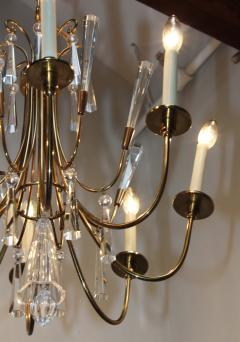 Lightolier Tommi Parzinger Style Brass And Crystal Chandelier - 1546622