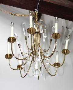 Lightolier Tommi Parzinger Style Brass And Crystal Chandelier - 1546623