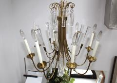 Lightolier Tommi Parzinger Style Brass And Crystal Chandelier - 1546625