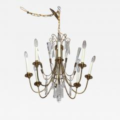 Lightolier Tommi Parzinger Style Brass And Crystal Chandelier - 1547229