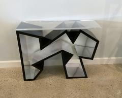 Lion in Frost American Modern Black Lucite Polished Chrome Console Table - 1930576