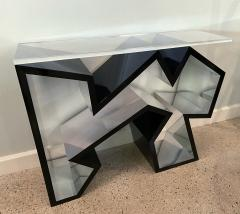Lion in Frost American Modern Black Lucite Polished Chrome Console Table - 1930578