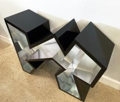 Lion in Frost American Modern Black Lucite Polished Chrome Console Table - 1930581