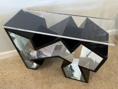 Lion in Frost American Modern Black Lucite Polished Chrome Console Table - 1930582