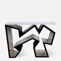 Lion in Frost American Modern Black Lucite Polished Chrome Console Table - 1933010
