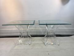 Lion in Frost HIGH END PAIR OF LION IN FROST LUCITE SIDE TABLES - 1347289
