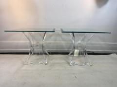 Lion in Frost HIGH END PAIR OF LION IN FROST LUCITE SIDE TABLES - 1347290