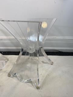 Lion in Frost HIGH END PAIR OF LION IN FROST LUCITE SIDE TABLES - 1347295