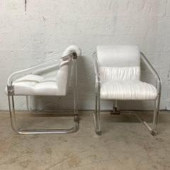 Lion in Frost Pair of Lion in Frost Lucite Nickel and Ultra Suede Armchairs Signed USA 1970s - 1657791