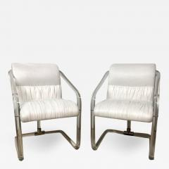 Lion in Frost Pair of Lion in Frost Lucite Nickel and Ultra Suede Armchairs Signed USA 1970s - 1659931