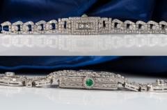 Longines Longines Platinum Art Deco 1920s 14 Carat Diamond Emerald Egyptian Revival Watch - 1731695