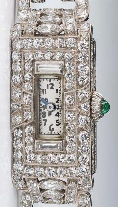 Longines Longines Platinum Art Deco 1920s 14 Carat Diamond Emerald Egyptian Revival Watch - 1731696
