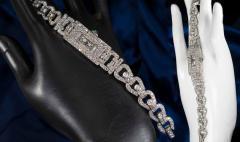 Longines Longines Platinum Art Deco 1920s 14 Carat Diamond Emerald Egyptian Revival Watch - 1731698