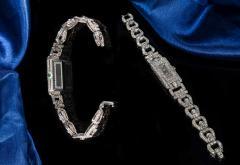 Longines Longines Platinum Art Deco 1920s 14 Carat Diamond Emerald Egyptian Revival Watch - 1731700